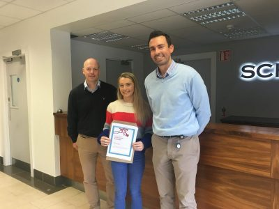 Aoife Dullaghan recipient of Schivo Medical's Education Bursary for 2018